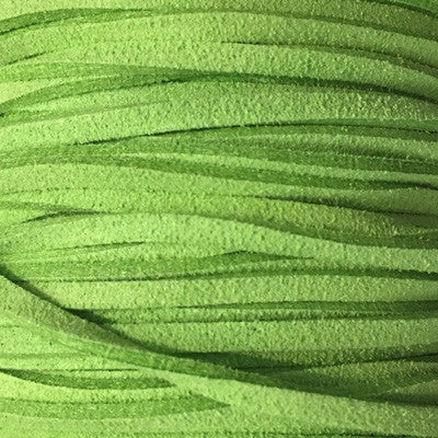 Lime Green Faux Suede Leather Cord per metre
