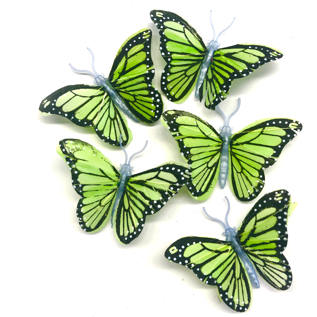 Feather Butterflies Style 4 MINI 5 Pack - Lime Green