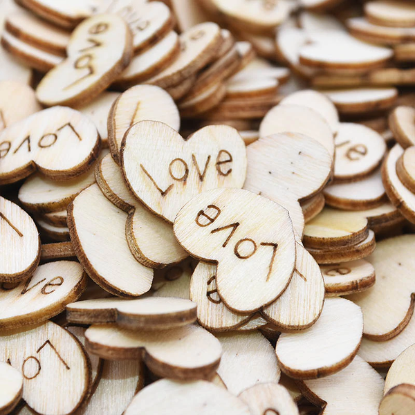 Laser Cut Unfinished Wooden Mini Love Heart Shape  x 100 pcs