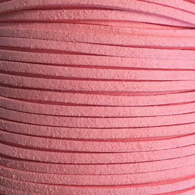 Pink Faux Suede Leather Cord per metre