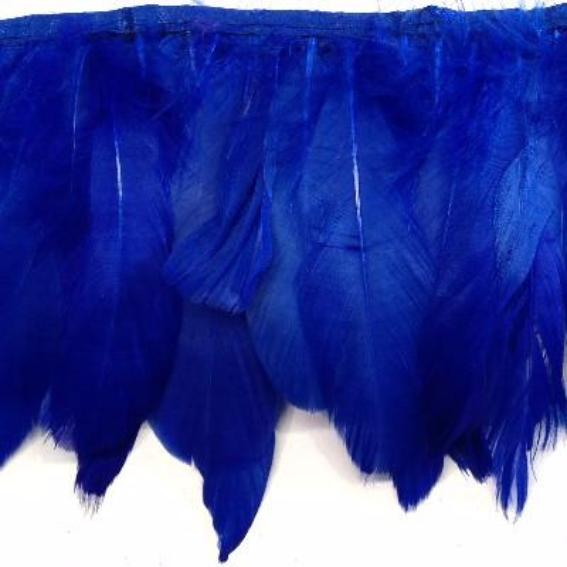 Goose Nagoire Feather Ribbon Strung per 10cm - Royal Blue