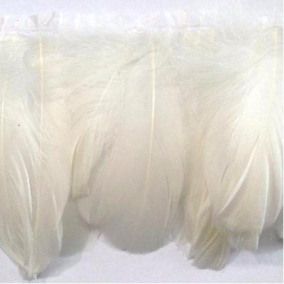 Goose Nagoire Feather Ribbon Strung per metre - White