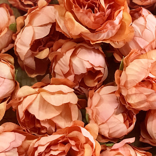 Artificial Silk Flower Heads - Apricot Peony Style 2 - 5 Pack