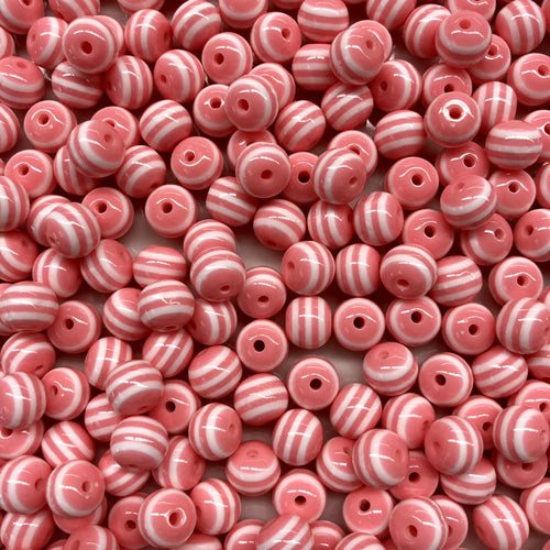 Style 19 Round Resin Stripe Bead 8mm x 10 - Pink