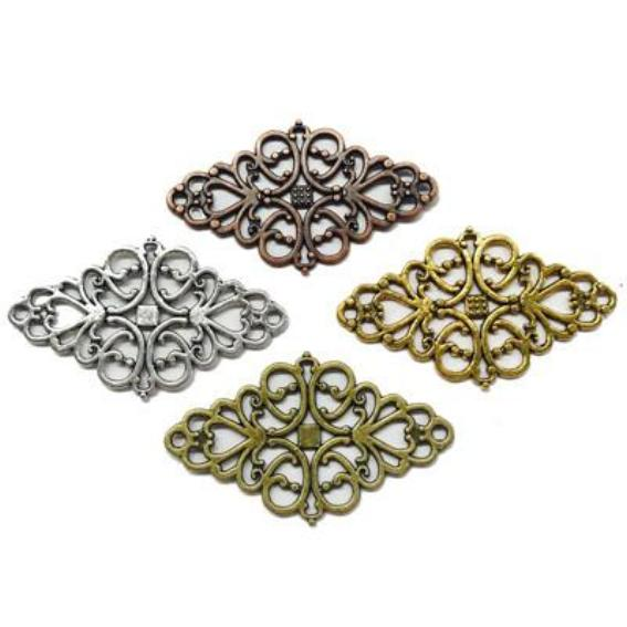 Metal Diamond Pendant / Jewellery Connectors x 4
