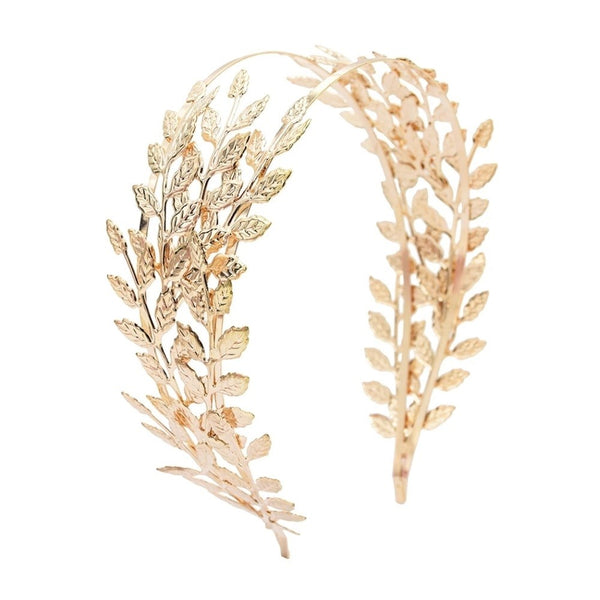 Leaf Metal Racewear Grecian Headpiece Headband - Gold (Style 2)