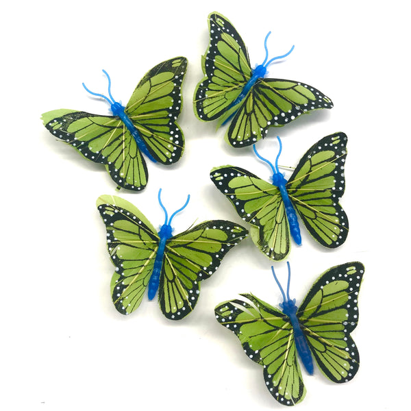Royal Blue Feather Butterflies Style 4 MINI 5 Pack