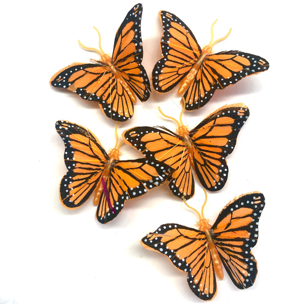 Feather Butterflies Style 4 MINI 5 Pack - Orange