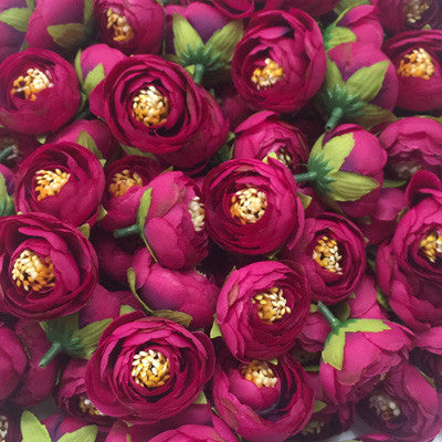 Artificial Silk Flower Heads - Mulberry Peony Style 72 - 5 Pack