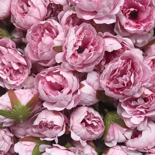 Artificial Silk Flower Heads - Pink Peony Style 37 - 5 Pack
