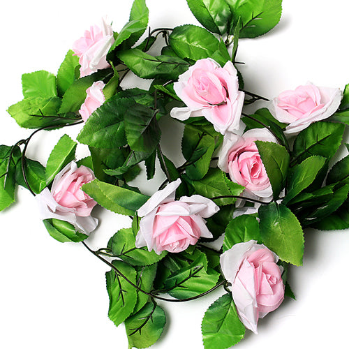Artificial Silk Flower Rose Garland - Light Pink