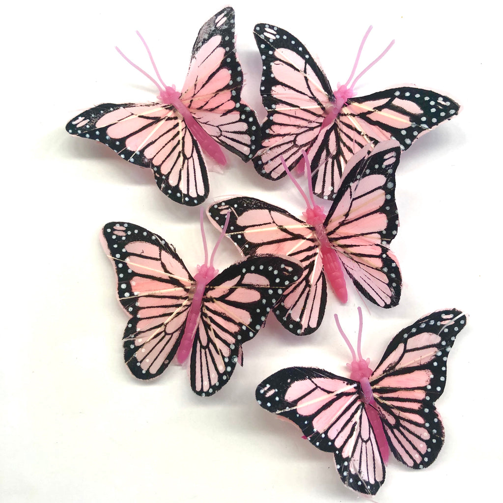 Feather Butterflies Style 4 MINI 5 Pack - Pink