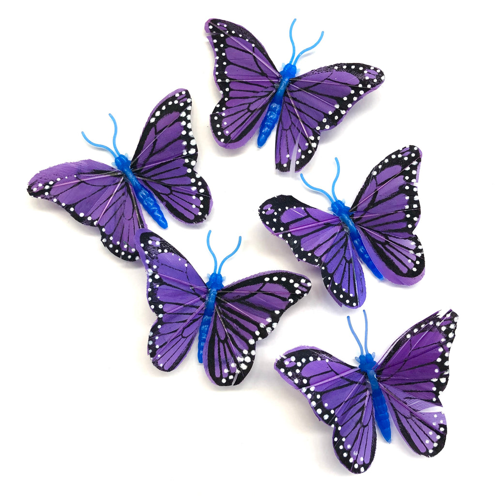 Feather Butterflies Style 4 MINI 5 Pack - Purple