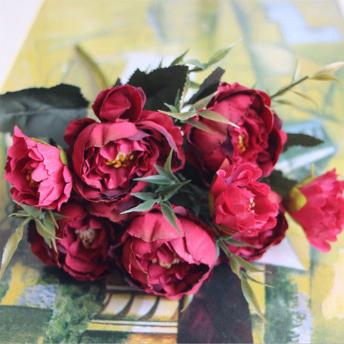 Artificial Silk Ruffled Peony Flower Bouquet Bunch - Red