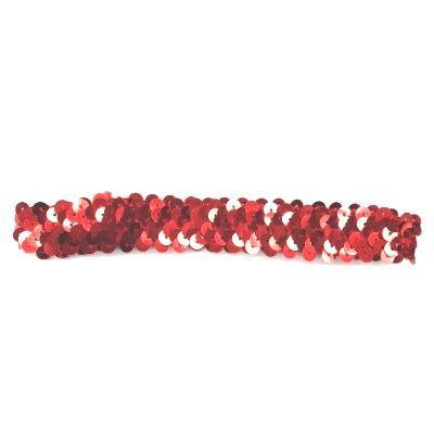Sequin Elastic Stretchy Headband Teen / Adults - Red x 10 pcs
