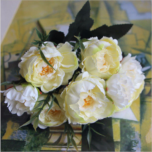 Artificial Silk Ruffled Peony Flower Bouquet Bunch - Ivory
