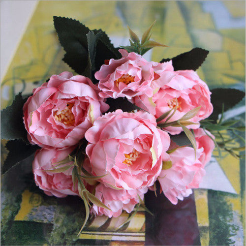 Artificial Silk Ruffled Peony Flower Bouquet Bunch - Pink