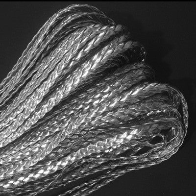 Silver Plastic Leather Braided Cord per metre