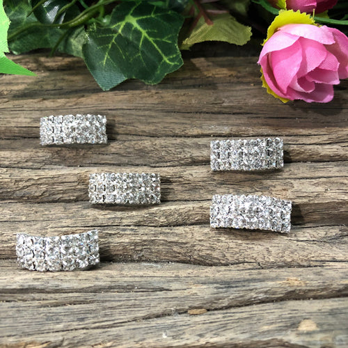 Silver Crystal Rhinestone Buckle Ribbon Sliders x 5