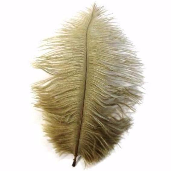 Ostrich Feather Drab 6-15cm x 5 - Gold ((SECONDS))