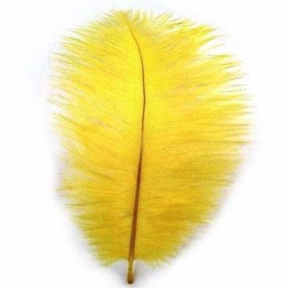 Ostrich Feather Drab 6-15cm x 5 - Yellow ((SECONDS))