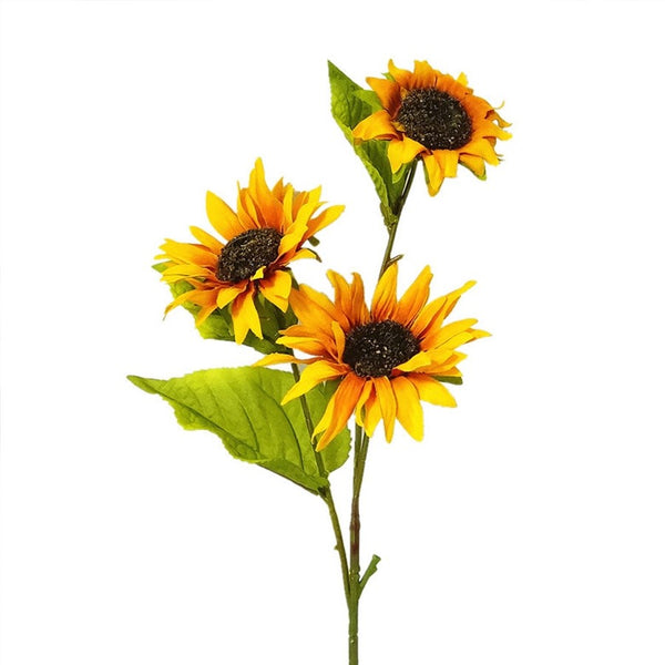 Artificial Silk Sunflower Flower Spray - Golden Yellow (Style 1)