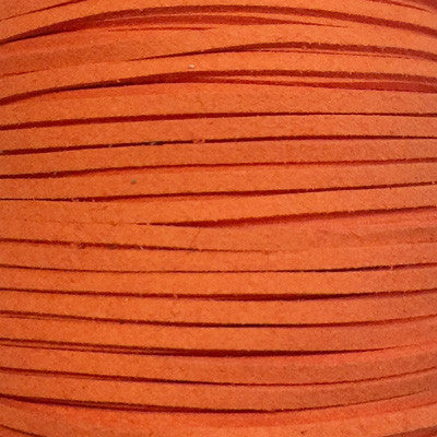 Orange Faux Suede Leather Cord per metre