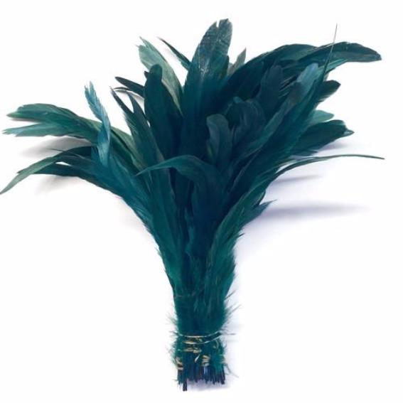 "10/12"" - 280mm Teal Coque Tail Feathers - 10 grams"