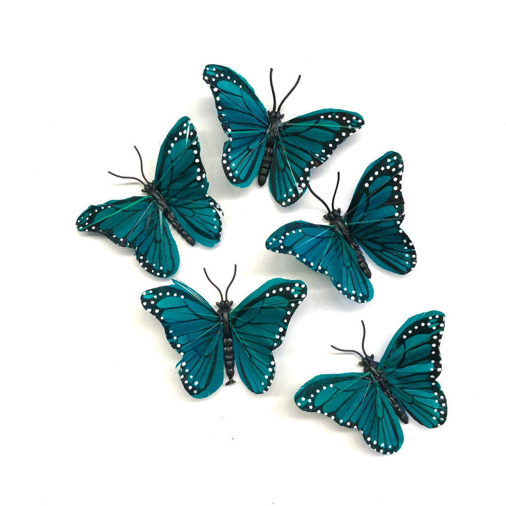 Feather Butterflies Style 4 MINI 5 Pack - Teal