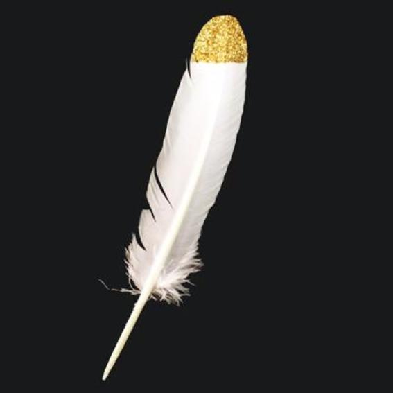 Turkey Wing Feather - White Gold Glitter Tipped