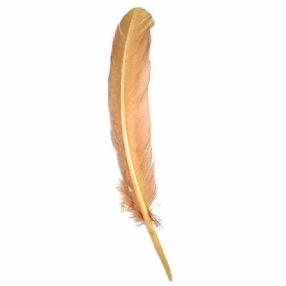 Turkey Wing Quill Feather x 5 pcs - Gold ((SECONDS))