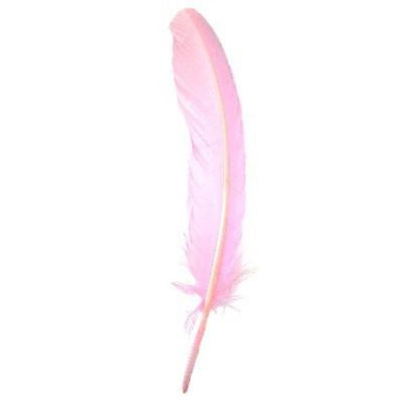 Turkey Wing Quill Feather x 5 pcs - Pink