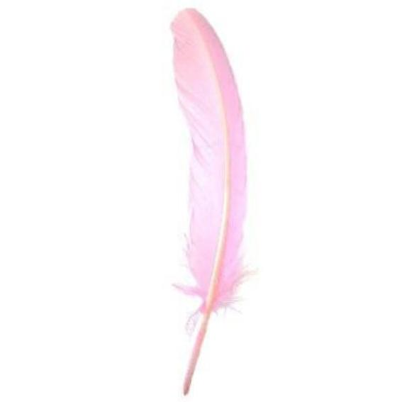 Turkey Wing Quill Feather x 5 pcs - Pink ((SECONDS))