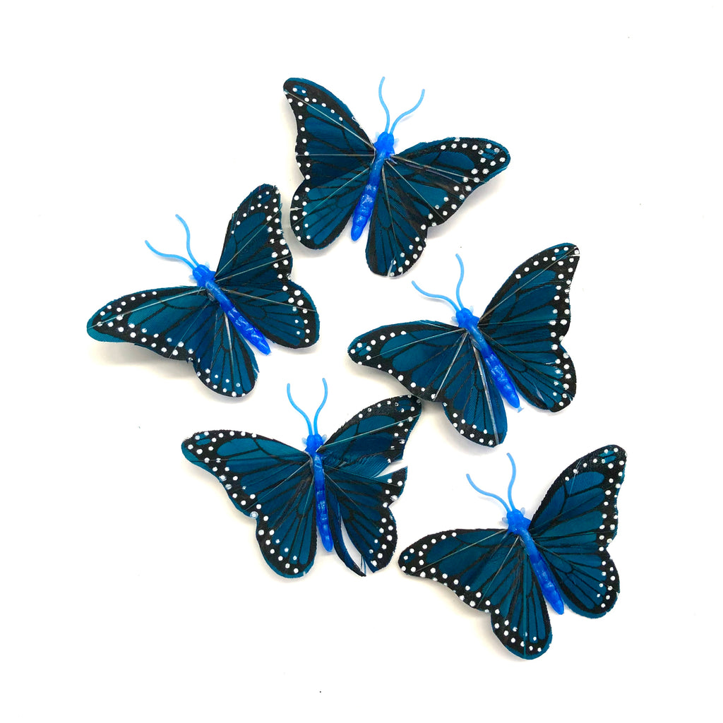 Feather Butterflies Style 4 MINI 5 Pack - Turquoise