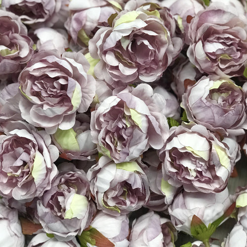 Artificial Silk Flower Heads - Vintage Lilac Peony Style 6  - 5 Pack