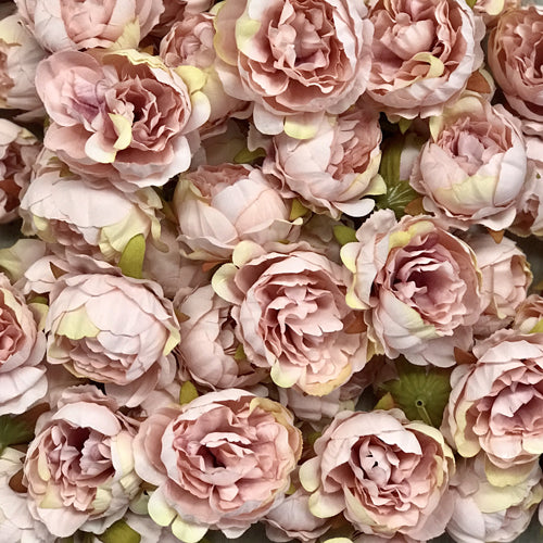 Artificial Silk Flower Heads - Vintage Blush Pink Peony Style 1 - 5 Pack