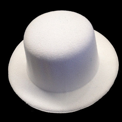 White Rounded Mini Top Hat ( No clips attached )