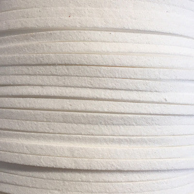 White Faux Suede Leather Cord per metre