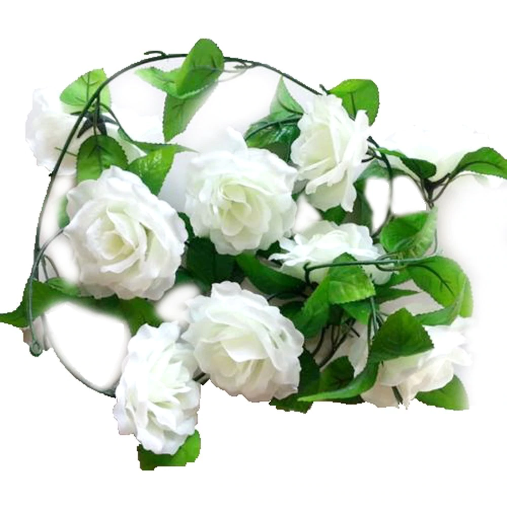 Artificial Silk Flower Rose Garland - White