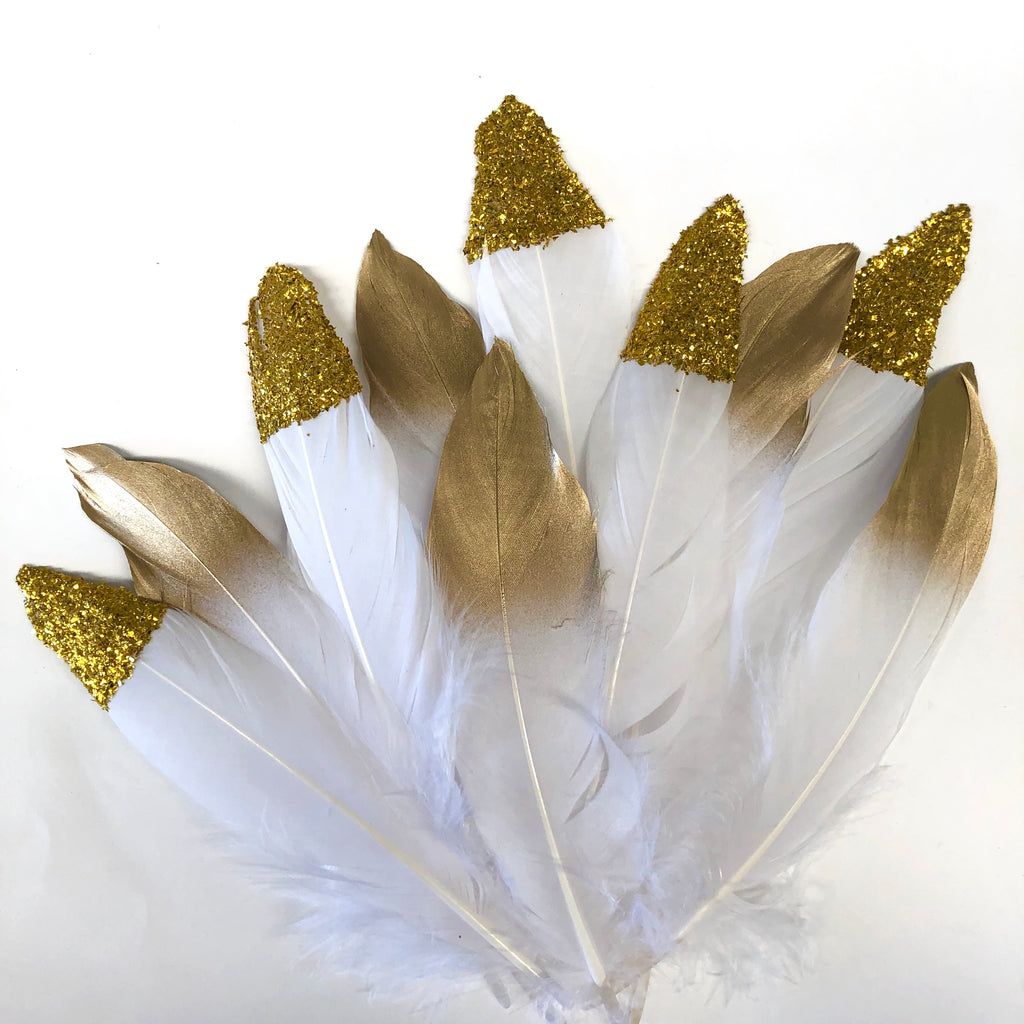 White Goose Pointer Feathers Gold & Glitter Tipped x 10