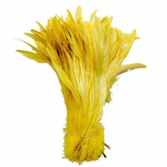 "10/12"" - 280mm Yellow Coque Tail Feathers - 10 grams"