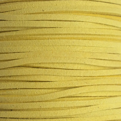 Yellow Faux Suede Leather Cord per metre