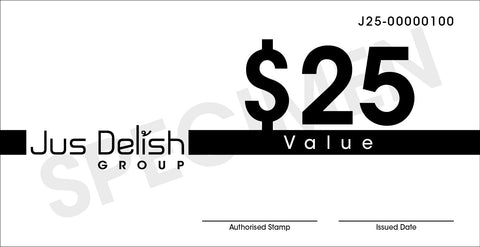 $25 Jus Delish Group  Festive Gift Vouchers