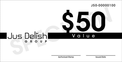 $50 Jus Delish Group  Festive Gift Vouchers