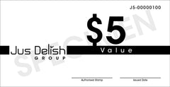 $5 Jus Delish Group  Festive Gift Vouchers