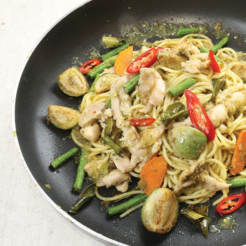 Pasta X Chicken X Green Curry = ??