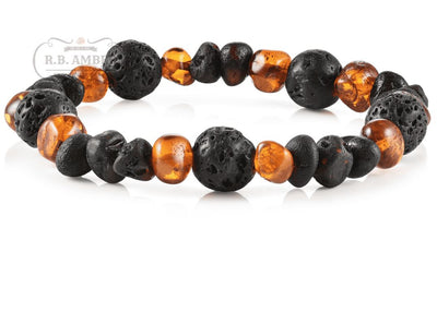 Baltic Amber Aromatherapy Bracelet for Adults Jewelry R.B. Amber Jewelry Cognac/Raw Cherry Lava