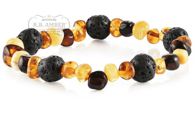 Baltic Amber Aromatherapy Bracelet for Adults Jewelry R.B. Amber Jewelry Multi Lava