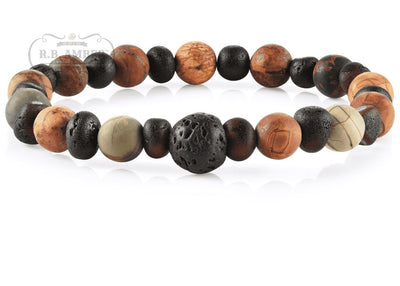 Baltic Amber Aromatherapy Bracelet for Adults Jewelry R.B. Amber Jewelry Raw Cherry/Picture Jasper Lava