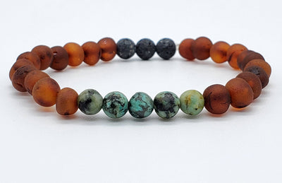 Baltic Amber Aromatherapy Bracelet for Adults Jewelry R.B. Amber Jewelry Raw Cognac African Turquoise Lava